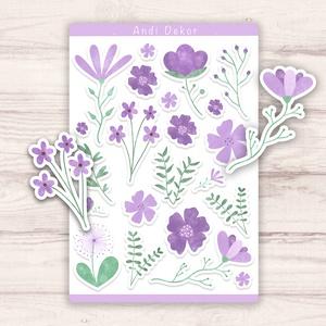 Lila virágos matricák, Otthon & lakás, Képzőművészet, Dekoráció, Illusztráció, Grafika, Papírművészet, Fotó, grafika, rajz, illusztráció, Egyedi készítésű lila virágos matricák AndiDekor mini műhelyéből, kiváló alapanyagokból és csupa szí..., Meska
