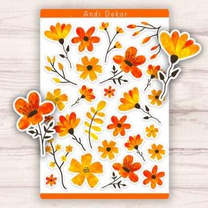 Tűzpiros virágos matricák - bullet journal matrica, Otthon & lakás, Dekoráció, Képzőművészet, Illusztráció, Grafika, Papírművészet, Fotó, grafika, rajz, illusztráció, Egyedi készítésű tűzpiros virágos matricák AndiDekor mini műhelyéből, kiváló alapanyagokból és csupa..., Meska