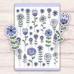 Kék virágos motívumok matrica szett, Otthon & lakás, Dekoráció, Képzőművészet, Illusztráció, Grafika, Papírművészet, Fotó, grafika, rajz, illusztráció, Egyedi készítésű kék virágos motívumok matrica szett AndiDekor mini műhelyéből, kiváló alapanyagokbó..., Meska