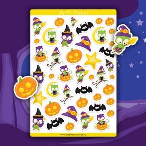 Halloween baglyok matrica szett - halloweeni matricák, Falmatrica & Tapéta, Dekoráció, Otthon & Lakás, Papírművészet, Fotó, grafika, rajz, illusztráció, Fényes felületű halloweeni baglyos matricák beltéri felhasználásra. Kiváló minőségű 135g-s fényes fe..., Meska