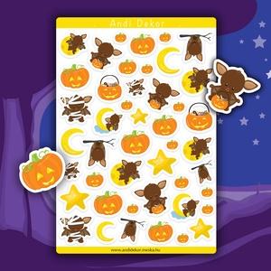 Halloween denevérek matrica szett - halloweeni matricák, Falmatrica & Tapéta, Dekoráció, Otthon & Lakás, Papírművészet, Fotó, grafika, rajz, illusztráció, Fényes felületű halloweeni denevéres matricák beltéri felhasználásra. Kiváló minőségű 135g-s fényes ..., Meska