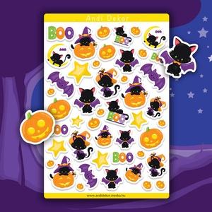Halloween macskák matrica szett - halloweeni matricák, Falmatrica & Tapéta, Dekoráció, Otthon & Lakás, Papírművészet, Fotó, grafika, rajz, illusztráció, Fényes felületű halloweeni cicás matricák beltéri felhasználásra. Kiváló minőségű 135g-s fényes felü..., Meska
