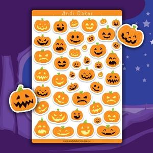 Halloween tökök matrica szett - halloweeni tök matricák, Falmatrica & Tapéta, Dekoráció, Otthon & Lakás, Papírművészet, Fotó, grafika, rajz, illusztráció, Fényes felületű halloweeni tökös matricák beltéri felhasználásra. Kiváló minőségű 135g-s fényes felü..., Meska
