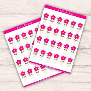 Rózsaszín mesevirág matricák, Készségfejlesztő & Logikai játék, Játék & Gyerek, Fotó, grafika, rajz, illusztráció, Papírművészet, Fényes felületű rózsaszín mesevirág matricák beltéri felhasználásra. Kiváló minőségű 135g-s fényes f..., Meska
