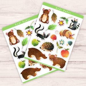 Cuki erdei állatok matrica szett - scrapbook és bullet journal dekor matricák, Otthon & Lakás, Papír írószer, Jegyzetfüzet & Napló, Fotó, grafika, rajz, illusztráció, Papírművészet, Fényes felületű cuki erdei állatok matrica szett beltéri felhasználásra. Kiváló minőségű 135g-s fény..., Meska