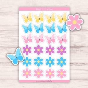 Pillangó és virág mintás matricák, Játék & Gyerek, Készségfejlesztő & Logikai játék, Fotó, grafika, rajz, illusztráció, Papírművészet, Fényes felületű pillangó és virág mintás matricák beltéri felhasználásra. Kiváló minőségű 135g-s fén..., Meska
