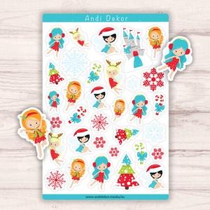Téltündéres matricák - karácsonyi téltündér matrica szett, Karácsony, Karácsonyi ajándékozás, Karácsonyi képeslap, üdvözlőlap, ajándékkísérő, Fotó, grafika, rajz, illusztráció, Papírművészet, Meska