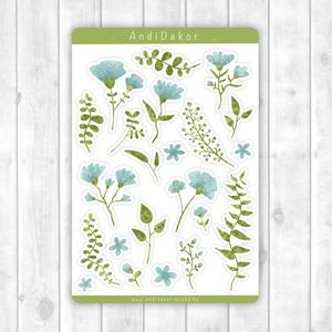 Vízfesték hatású növényi motívumos matricák kék virágos, Otthon & Lakás, Papír írószer, Jegyzetfüzet & Napló, Fotó, grafika, rajz, illusztráció, Papírművészet, Fényes felületű vízfesték hatású növényi motívumos matricák beltéri felhasználásra. Kiváló minőségű ..., Meska
