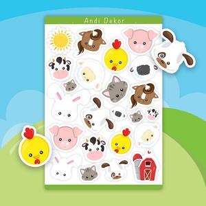 Farmos állatok matrica szett, Otthon & Lakás, Papír írószer, Jegyzetfüzet & Napló, Fotó, grafika, rajz, illusztráció, Papírművészet, Fényes felületű farmos állatok matrica szett beltéri felhasználásra. Kiváló minőségű 135g-s fényes f..., Meska
