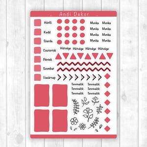 Bullet journal kiegészítő matricák - tervező matrica, napló dekoráció (halvány piros), Otthon & Lakás, Papír írószer, Naptár & Tervező, Fotó, grafika, rajz, illusztráció, Papírművészet, Fényes felületű bullet journal matricák beltéri felhasználásra, tervezőkhöz, naplókhoz. Kiváló minős..., Meska