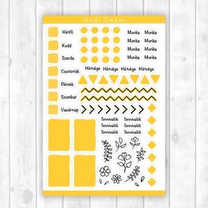 Bullet journal kiegészítő matricák - tervező matrica, napló dekoráció (sárga), Otthon & Lakás, Papír írószer, Jegyzetfüzet & Napló, Fotó, grafika, rajz, illusztráció, Papírművészet, Fényes felületű bullet journal matricák beltéri felhasználásra, tervezőkhöz, naplókhoz. Kiváló minős..., Meska