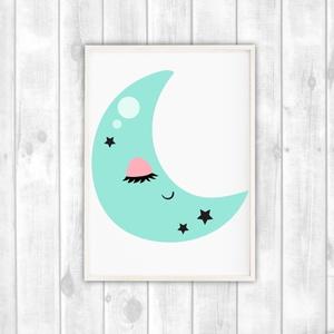 Holdas poszter gyerekszobába - alvó hold dekor poszter, falikép, Otthon & Lakás, Dekoráció, Kép & Falikép, Fotó, grafika, rajz, illusztráció, Papírművészet, Holdas gyerekszoba dekor poszter A4 méret. Alvó holdas falikép\n\nGyerekszoba dekorálásához, falra, va..., Meska