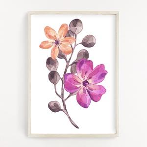 Virágos dekor poszter A4 - Botanikai illusztráció - vízfesték hatással, Otthon & Lakás, Dekoráció, Falra akasztható dekor, Papírművészet, Fotó, grafika, rajz, illusztráció, Virágos dekor poszter A4 - Botanikai illusztráció - vízfesték hatással (No.20)\n\nSzoba, nappali dekor..., Meska