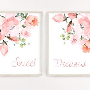 Virágos dekor poszter szett A4 - Sweet dreams - szép álmokat felirattal - 2 db-os szett, Otthon & Lakás, Dekoráció, Kép & Falikép, Fotó, grafika, rajz, illusztráció, Papírművészet, Virágos dekor poszter szett A4 - Sweet dreams - szép álmokat felirattal - 2 db-os szett (No.26)\n\nSzo..., Meska