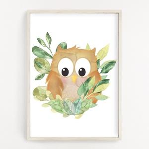Cuki baglyos gyerekszoba dekor poszter A4 - Falikép, Játék & Gyerek, 3 éves kor alattiaknak, Fotó, grafika, rajz, illusztráció, Papírművészet, Cuki baglyos gyerekszoba dekor poszter A4 - Falikép (No.39.)\n\nSzoba, nappali dekorálásához, falra, v..., Meska