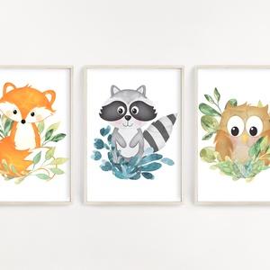 Erdei állatok gyerekszoba dekor poszter szett A4 - 3 db falikép szett, Játék & Gyerek, 3 éves kor alattiaknak, Fotó, grafika, rajz, illusztráció, Papírművészet, Erdei állatok gyerekszoba dekor poszter szett A4 - 3 db falikép szett (No.40)\n\nSzoba, nappali dekorá..., Meska