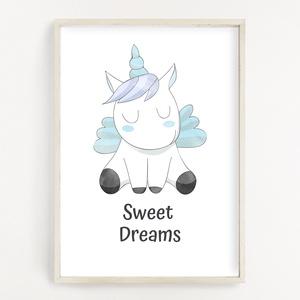 Cuki kék egyszarvús gyerekszoba poszter A4 - Baba falikép - Szép álmokat felirattal, Játék & Gyerek, 3 éves kor alattiaknak, Fotó, grafika, rajz, illusztráció, Papírművészet, Cuki kék egyszarvús gyerekszoba poszter A4 - Baba falikép - Szép álmokat felirattal (No.43.1)\n\nBabas..., Meska