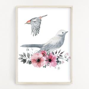 Vízfesték hatású madaras poszter A4 - Dekor falikép, Művészet, Grafika & Illusztráció, Fotó, grafika, rajz, illusztráció, Papírművészet, Vízfesték hatású madaras poszter A4 - Dekor falikép (No.42)\n\nSzoba, gyerekszoba, nappali dekorálásáh..., Meska