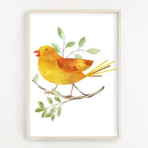 Vízfesték hatású sárga kanári madaras poszter A4 - Dekor falikép, Művészet, Grafika & Illusztráció, Fotó, grafika, rajz, illusztráció, Papírművészet, Vízfesték hatású sárga kanári madaras poszter A4 - Dekor falikép (No.41)\n\nSzoba, gyerekszoba, nappal..., Meska