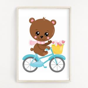 Biciklis maci gyerekszoba poszter A4, Otthon & Lakás, Dekoráció, Kép & Falikép, Fotó, grafika, rajz, illusztráció, Papírművészet, Gyerekszoba dekor poszter A4 méret, Falikép\n\nGyerekszoba dekorálásához, falra, vagy keretbe helyezhe..., Meska