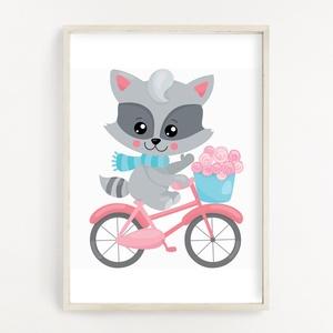 Biciklis mosómaci gyerekszoba poszter A4, Otthon & Lakás, Dekoráció, Kép & Falikép, Fotó, grafika, rajz, illusztráció, Papírművészet, Gyerekszoba dekor poszter A4 méret, Falikép\n\nGyerekszoba dekorálásához, falra, vagy keretbe helyezhe..., Meska