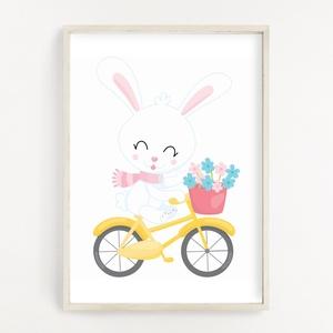 Biciklis nyuszi gyerekszoba poszter A4, Otthon & Lakás, Dekoráció, Kép & Falikép, Fotó, grafika, rajz, illusztráció, Papírművészet, Gyerekszoba dekor poszter A4 méret, Falikép\n\nGyerekszoba dekorálásához, falra, vagy keretbe helyezhe..., Meska