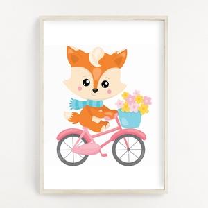 Biciklis róka gyerekszoba poszter A4, Otthon & Lakás, Dekoráció, Kép & Falikép, Fotó, grafika, rajz, illusztráció, Papírművészet, Gyerekszoba dekor poszter A4 méret, Falikép\n\nGyerekszoba dekorálásához, falra, vagy keretbe helyezhe..., Meska