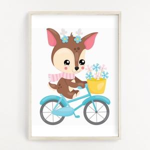 Biciklis őzike gyerekszoba poszter A4, Otthon & Lakás, Dekoráció, Kép & Falikép, Fotó, grafika, rajz, illusztráció, Papírművészet, Gyerekszoba dekor poszter A4 méret, Falikép\n\nGyerekszoba dekorálásához, falra, vagy keretbe helyezhe..., Meska