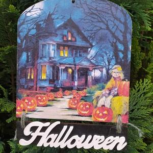 halloweeni ajtódísz- sütőtökös, Otthon & Lakás, Dekoráció, Ajtódísz & Kopogtató, Decoupage, transzfer és szalvétatechnika, Halloweeni ajtódísz sütőtökökkel. Decoupage technikával készült, méretei:\n15,5cm széles, 17 és 3,5 c..., Meska