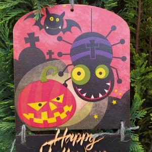 halloweeni ajtódísz- óriás pók, Otthon & Lakás, Dekoráció, Ajtódísz & Kopogtató, Decoupage, transzfer és szalvétatechnika, Halloweeni ajtódísz óriás pókkall! Decoupage technikával készült, méretei:\n15,5cm széles, 17 és 3,5 ..., Meska