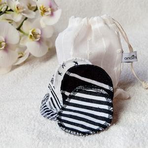 Sminklemosó korong (10 db) opciós mosózsákkal - vékony mosható arctisztító korong zero waste ajándék nőknek lányoknak, Szépségápolás, Ajándékcsomag, Varrás, Újrahasznosított fekete/fehér kötött (póló) anyagból dupla rétegben készült arctisztító korong készl..., Meska