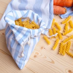 Zero waste textilzsák készlet 3 db-os, újrahasználható zacskók - pékáru, zöldség, gyümölcs vásárlásához pamutból (andindadesign) - Meska.hu