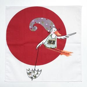 Puha, nagyméretű textil zsebkendő vagy szalvéta mesemintás madárral esernyővel kislányoknak, kisfiúknak, gyerekeknek, Ruha & Divat, Sál, Sapka, Kendő, Varrás, Meska