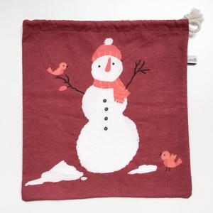 Téli ajándék csomagolás - pamut zsák újrahasznosított anyagból jó gyerekeknek karácsonyi ajándékoknak, mikulásra, Karácsony & Mikulás, Karácsonyi csomagolás, Varrás, Vidám hóemberes ajándékcsomagoló\nHa te is elkötelezett vagy a zöld életmód és a hulladékmentes - zer..., Meska
