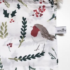 Vörösbegyes ajándékcsomagoló zsák természetkedvelő férfiaknak, nőknek anyák napjára, mikulásra, bevásárláshoz, Táska & Tok, Bevásárlás & Shopper táska, Varrás, Meska
