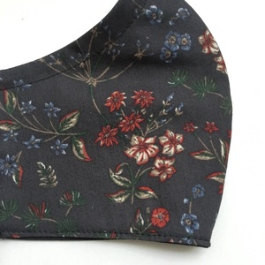 Elegáns téli virágos nőies szürke, bordó, kék szájmaszk - arcmaszk opcionális dróttal férfi, női és gyerek méretben - Meska.hu