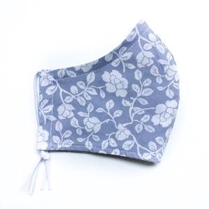 Virágos tavaszi nőies pasztell kék szájmaszk - arcmaszk opcionális dróttal férfi, női és gyerek méretben, Maszk, Arcmaszk, Női, Varrás, Meska