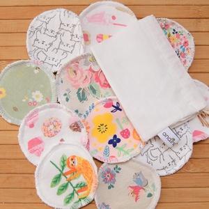 Sminklemosó korong (10 db) opciós mosózsákkal - mosható arctisztító korong zero waste ajándék nőknek lányoknak, Szépségápolás, Ajándékcsomag, Varrás, Mosható, újrahasználható sminklemo korongok újrahasznosított tarka kötött (póló) anyagból és frottír..., Meska