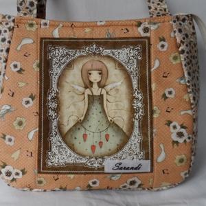 Narancs Mirabelle táska.KIÁRÚSÍTÁS!, Táska & Tok, Kézitáska & válltáska, Válltáska, Varrás, Desinger pamutvászonból készítettem ezt a pakolós széles aljú táskát.A táskát szivaccsal béleltem ez..., Meska