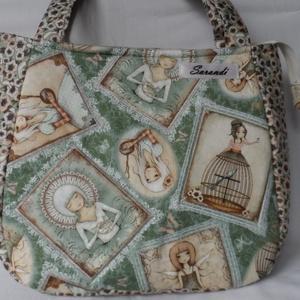 Mirabelle zöld táska, Táska, Táska, Divat & Szépség, Válltáska, oldaltáska, Varrás, Desinger pamutvászonból készítettem ezt a pakolós széles aljú táskát.A táskát szivaccsal béleltem ez..., Meska