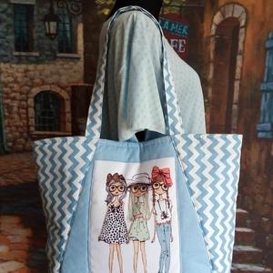 Háromlányos láska, Táska & Tok, Kézitáska & válltáska, Nagy pakolós táska, Varrás, Desinger pamutvászonból készítettem.Az elején nyomtatott kép van ami feldobja a táskát(na nem az égb..., Meska