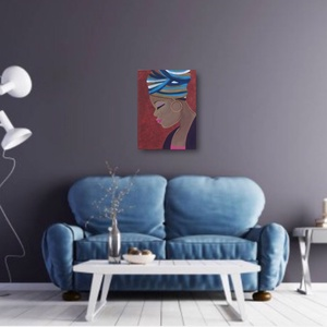 Afrikai Nő, Otthon & lakás, Dekoráció, Kép, Képzőművészet, Festmény, Akril, Lakberendezés, Falikép, Festészet, Festmény, Meska