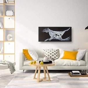 Kiss, Művészet, Festmény, Akril, Festett tárgyak, Kézzel festett, egyedi falikép. Semleges színének köszönhetően bárhol jól mutat. 25x55 cm , Meska