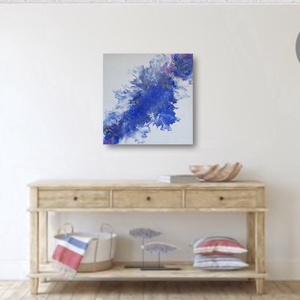 Kék Átló, Otthon & Lakás, Dekoráció, Kép & Falikép, Festészet, Festéköntéssel készült, egyedi, modern, absztrakt alkotás, amely különleges dísze lehet bármelyik ot..., Meska