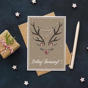 Karácsonyi \'szarvasos\' képeslap, Karácsony & Mikulás, Karácsonyi képeslap, Festészet, Fotó, grafika, rajz, illusztráció, 1 db A6 méretű (105x148 mm) képeslap, természetes megjelenésű, kellemes tapintású 260-grammos kreatí..., Meska