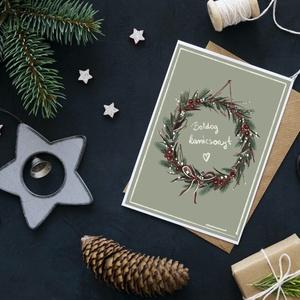Ünnepi képeslap, Karácsony & Mikulás, Karácsonyi képeslap, Fotó, grafika, rajz, illusztráció, Festészet, 1 db A6 méretű (105x148 mm) képeslap, természetes megjelenésű, kellemes tapintású 260-grammos kreatí..., Meska
