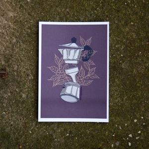 Kotyogós kávéfőző - 1., Otthon & Lakás, Dekoráció, Kép & Falikép, Fotó, grafika, rajz, illusztráció, Kotyogós kávéfőzőről készítettem ezt a  digitális grafikát, kávécserjével a háttérben. \nEgy kávés so..., Meska
