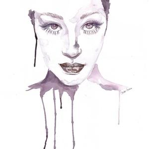 Női portré - nyomat, Művészet, Festmény, Akvarell, Festészet, Fotó, grafika, rajz, illusztráció, Akvarellel festett női portré sorozat 2. darabja.\n\nA festményből készült nyomat kerül postázásra. Pr..., Meska