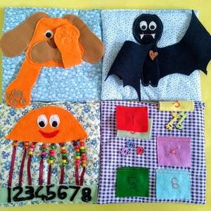 Quiet book, okos könyv, Játék, Gyerek & játék, Baba játék, Varrás, Fejlesztő játszó könyv kisgyerekeknek. Játszva ismerkednek meg általa a gyerekek a színek és a számo..., Meska