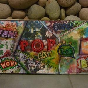 Pop Art: akril festmény - modern vászonkép, Akril, Festmény, Művészet, Festészet, Mindenmás, Egyedi stílusú mixed media technikával készített akrilfestmény. \n\nAlapja nyomdázva, dekupázsolva ame..., Meska